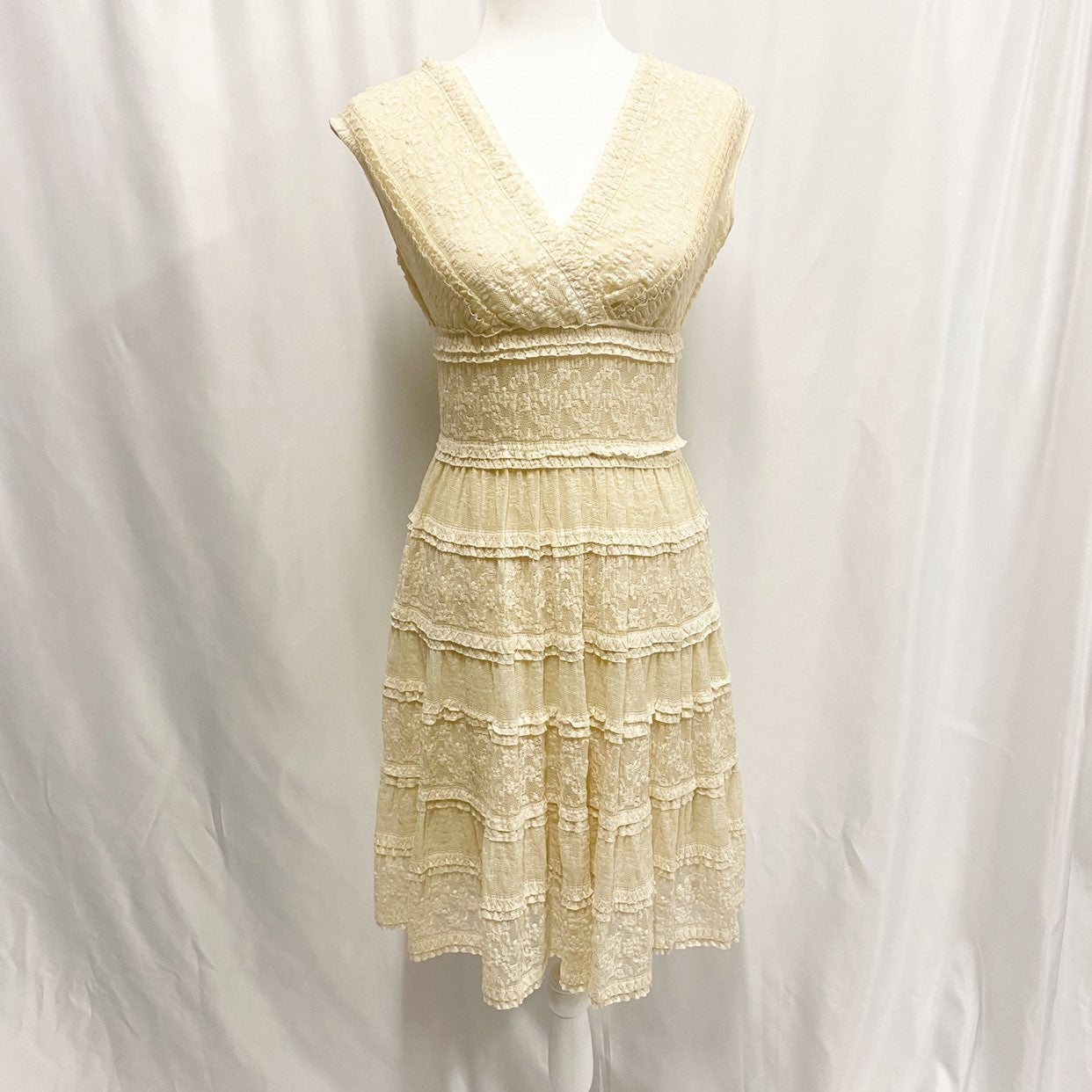Studio M Tiered Lace Antique White Dress
