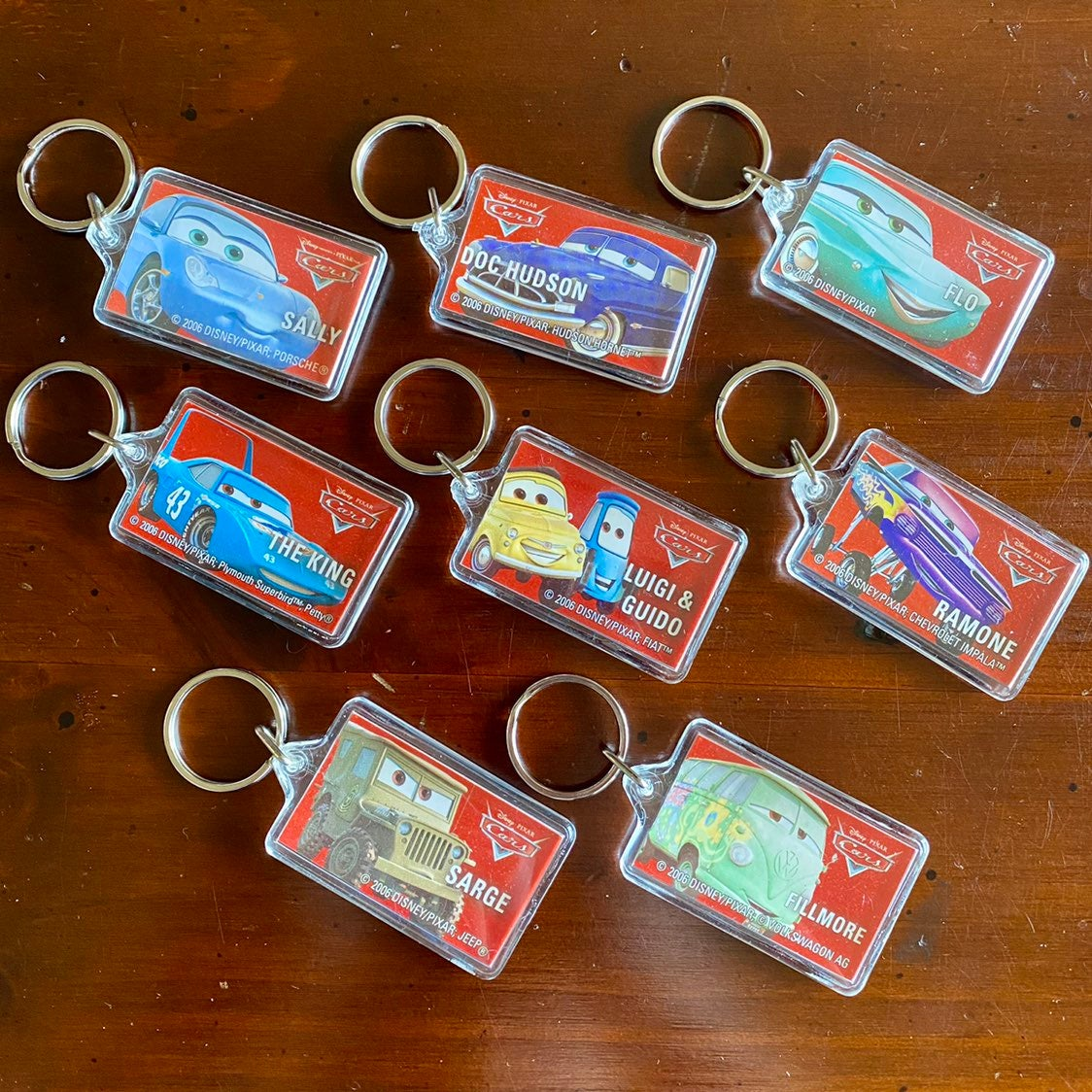 "Disney ""Cars"" Keychains, Set of 8"