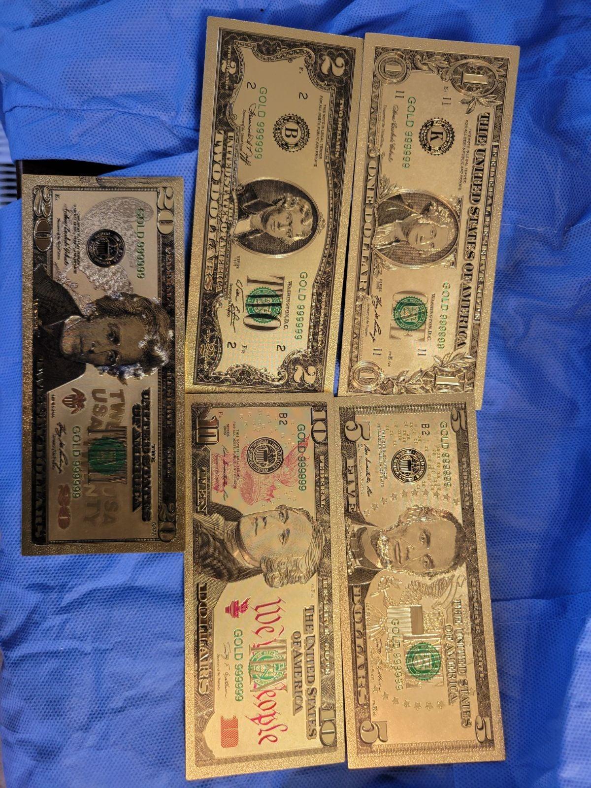 5 piece gold Foil bill