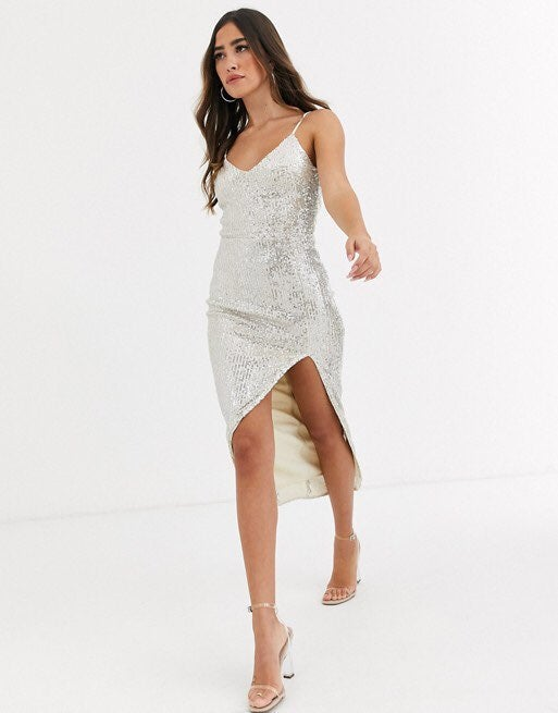 Missguided cami slip dress in all over s
