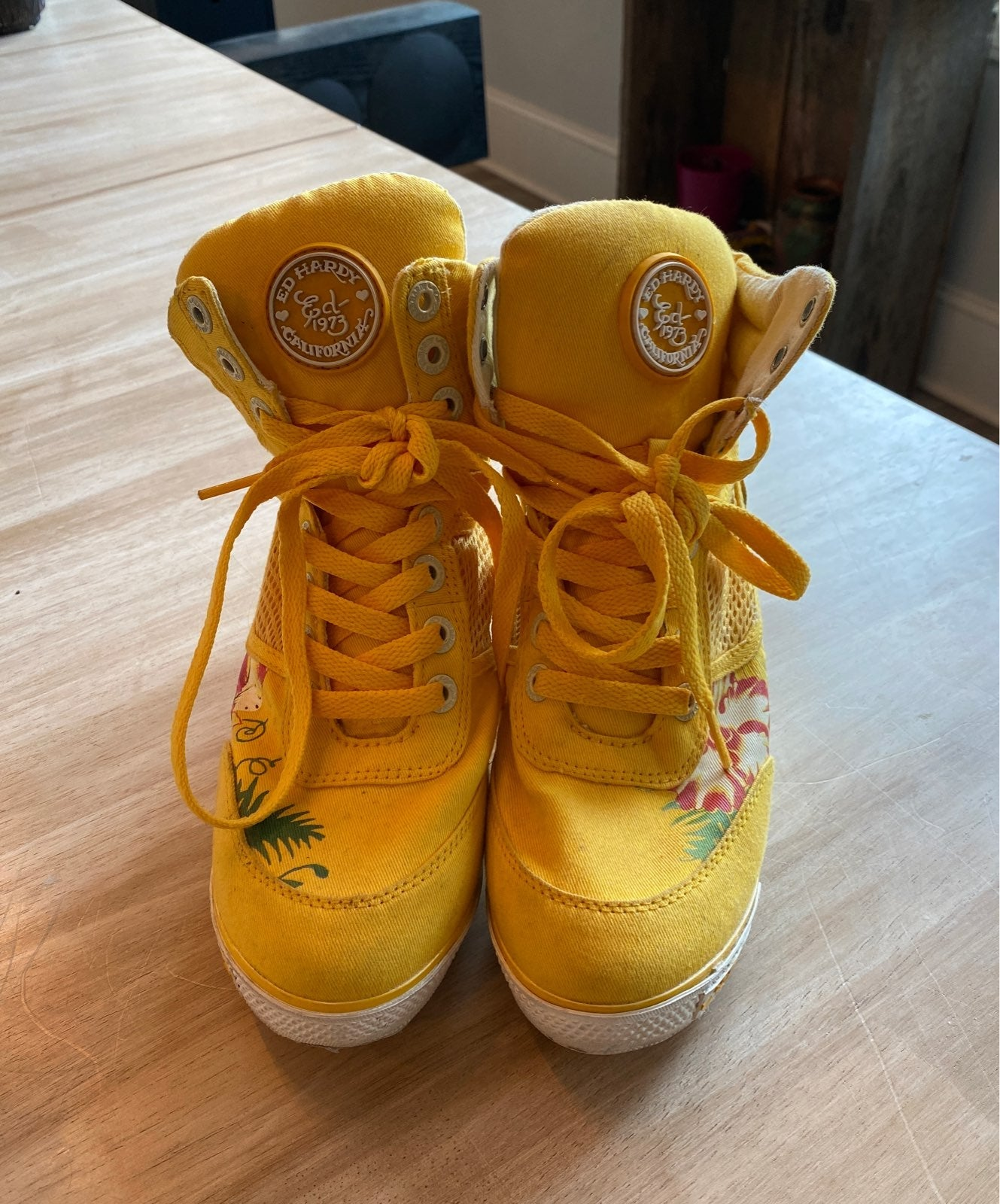 Ed Hardy Yellow High Tops