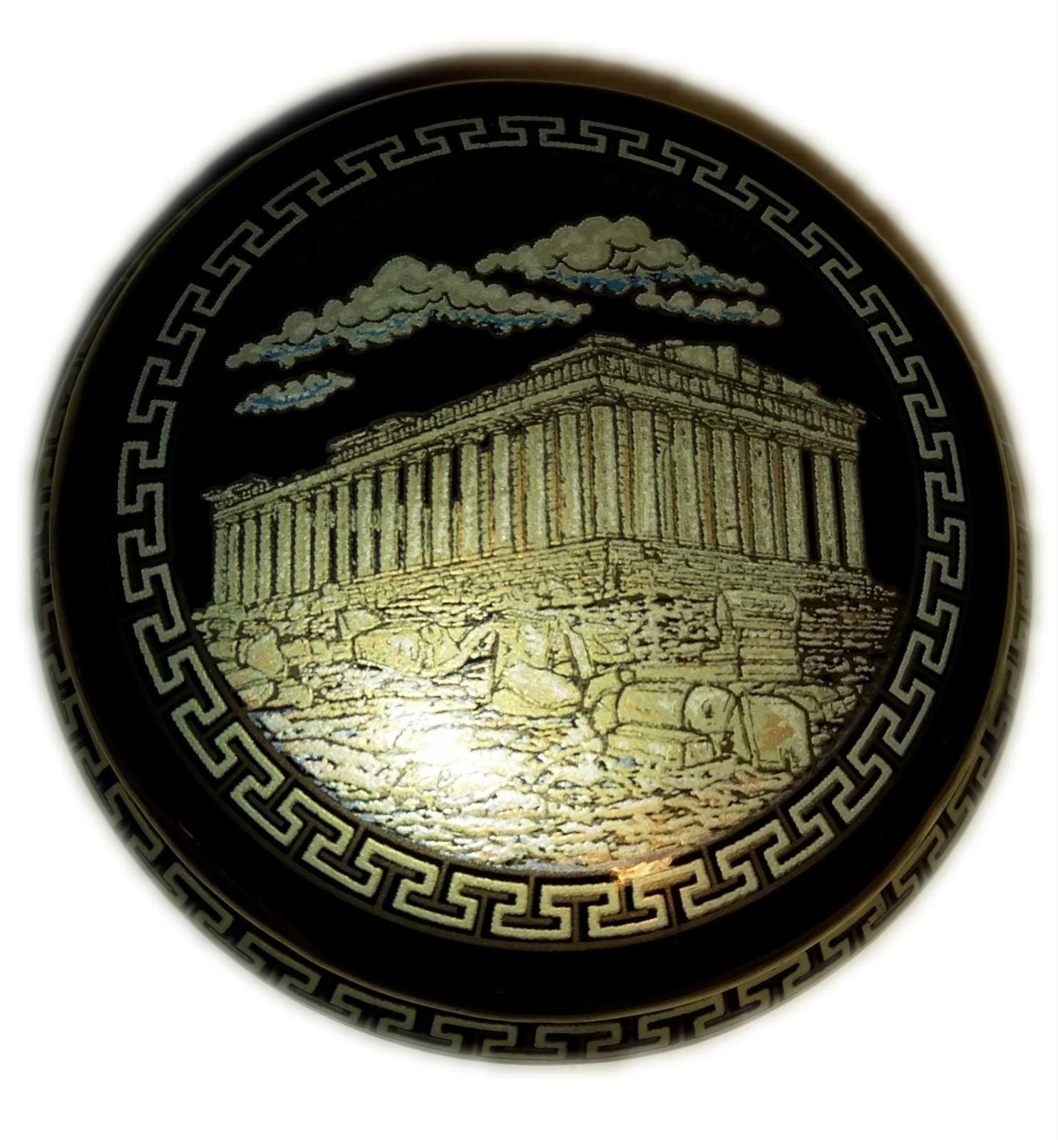 VINTAGE GREEK BLK 24K GOLD TRINKET BOX