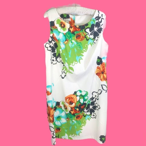 Kim Rogers 14W floral white sheath dress