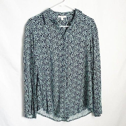 Ella Moss Roll Tab Button Down Blue Turquoise S