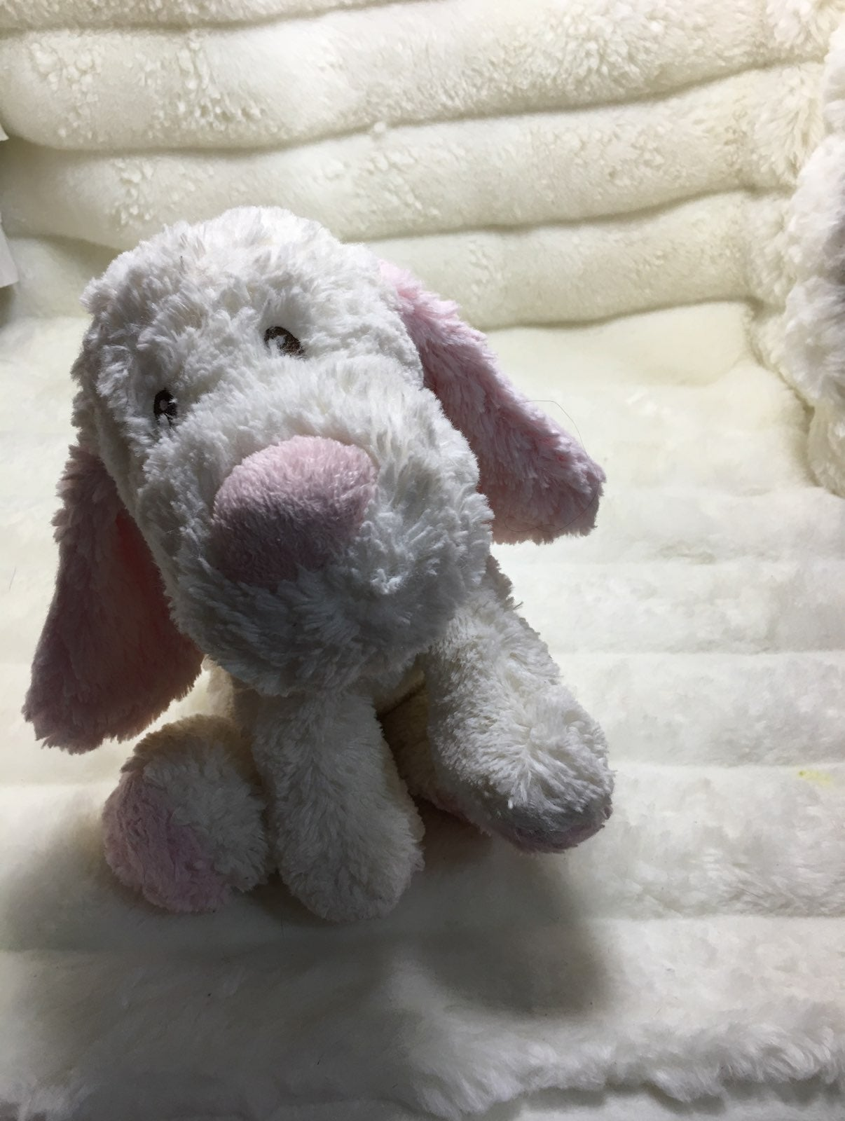 Toys R Us Pink White Puppy Dog Stuffed P