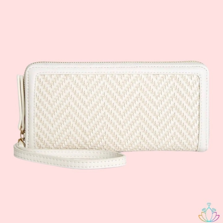 White Clutch Woven Wallet FREE SHIPPING
