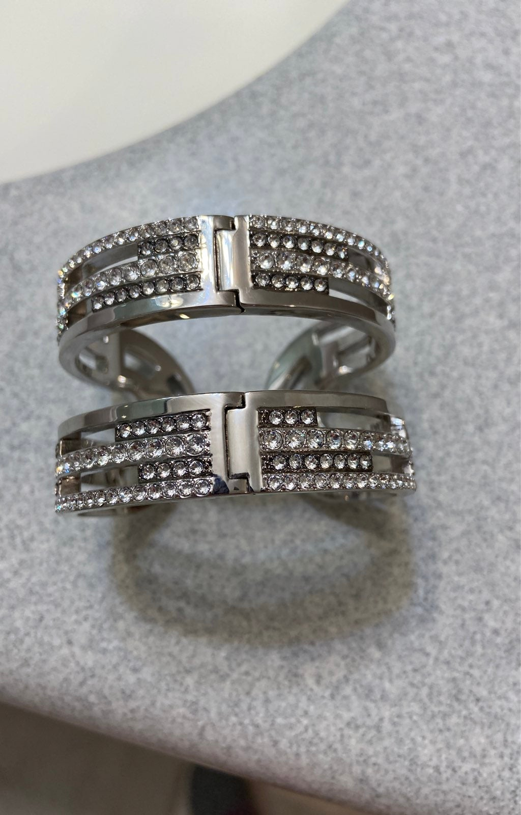 Karl Lagerfeld silver rhinestone bangle