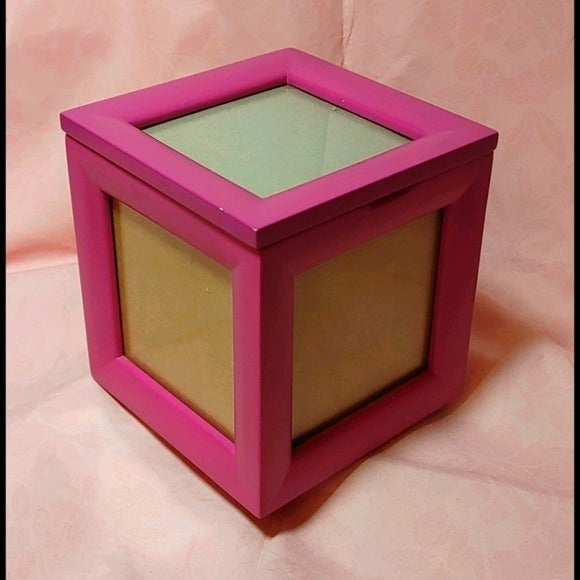 Pink Wooden Picture Cube Trinket Box