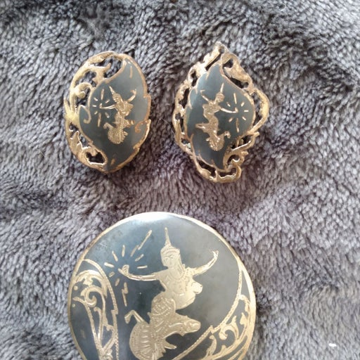 Antique Silver earrings and brooch