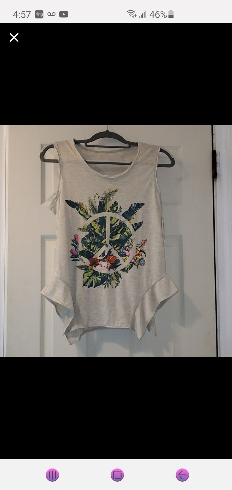 NWT Jessica Simpson Floral Peace Tank To