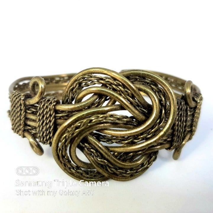 Brass Braided Double Knot Cuff Bracelet