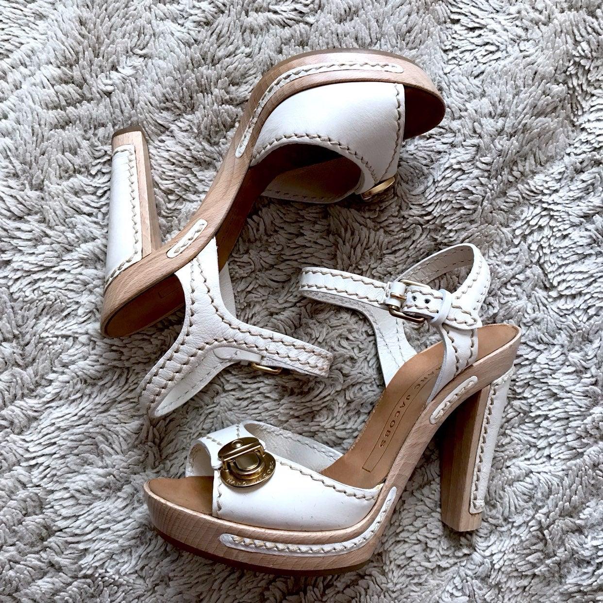 Marc Jacobs White Platform Open Sandals