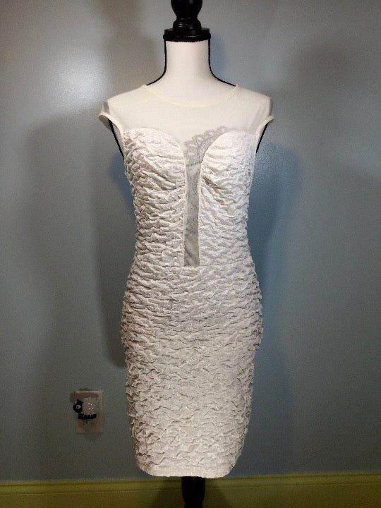 Deb Bodycon White Mesh Panel Dress  S