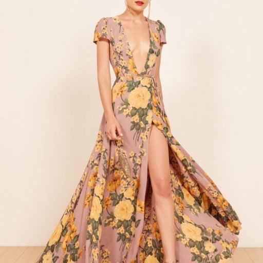 NWT Reformation Rosey Maxi Wrap Dress