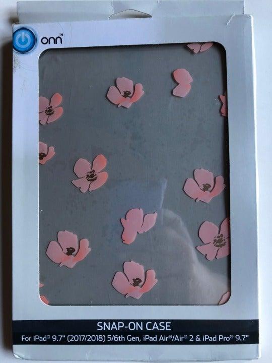 "ONN Snap-On Ipad Case 9.7"" Pink Floral"
