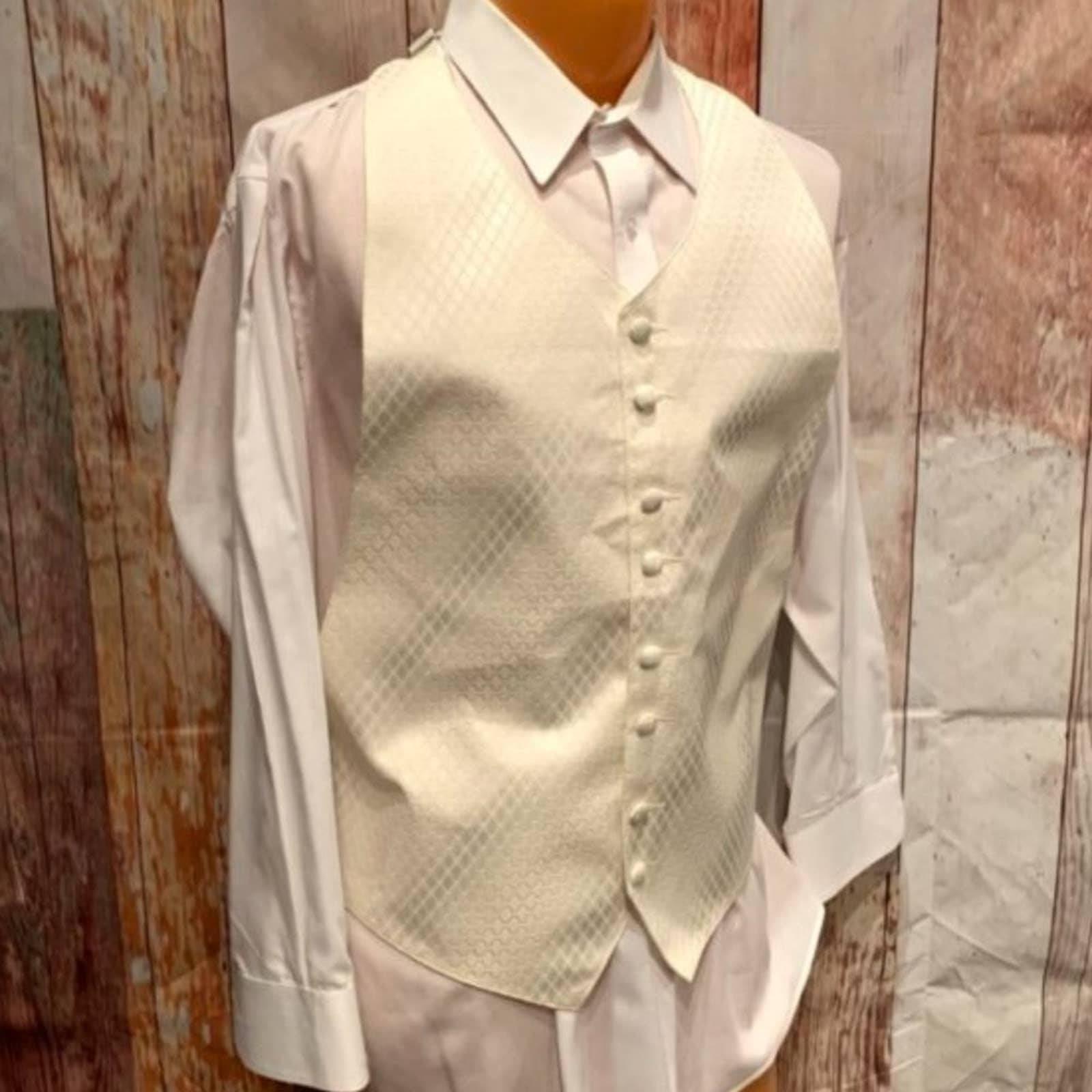 Ivory Diamond Adjustable XL Tuxedo Vest