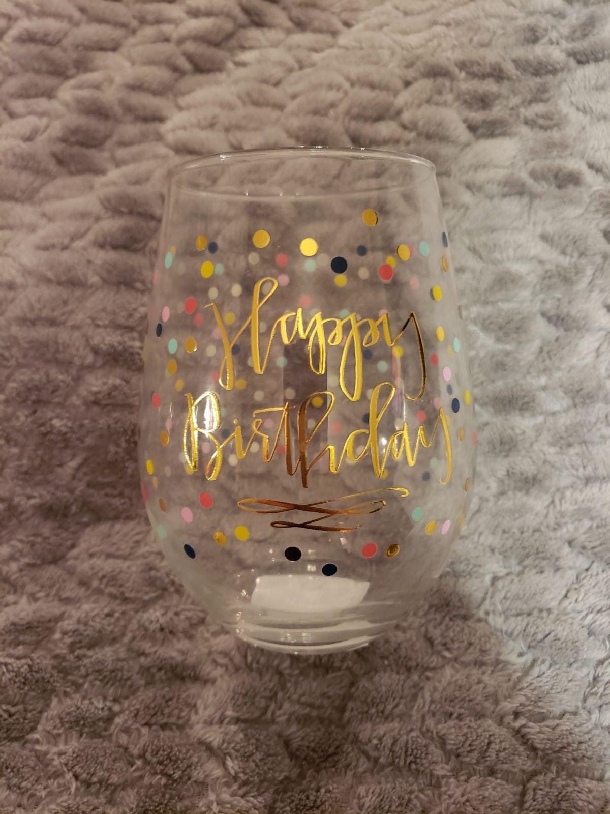"""""""Happy Birthday"""" Stemless Wine Glass"""