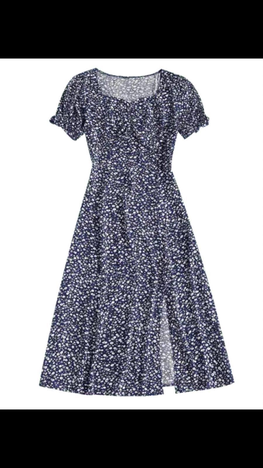 Ditsy Floral Slit Midi Dress