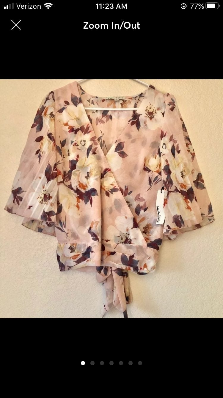 NEW Floral Open Back Cropped Bow Blouse