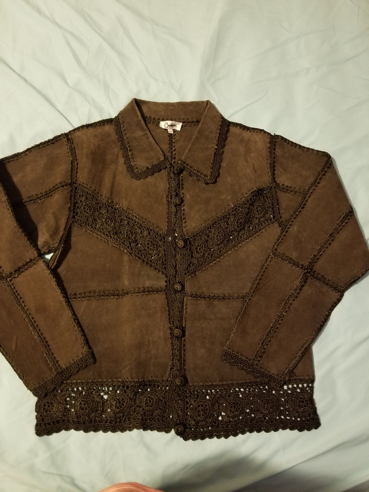 Carducci suede leather crochet jacket