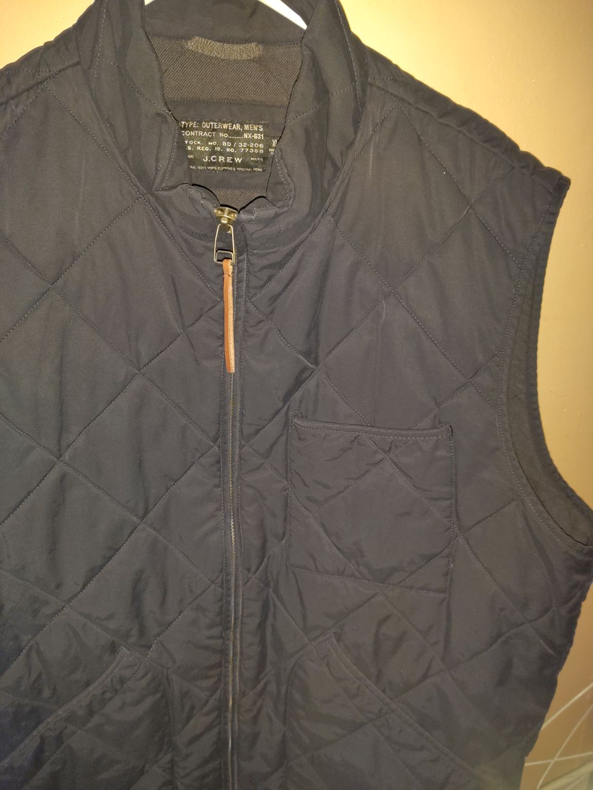 J.crew Black label quilted vest full zip