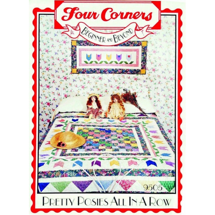 Pretty Posies All in a Row Scrappy Patchwork Quilt Pattern by Four Corners
