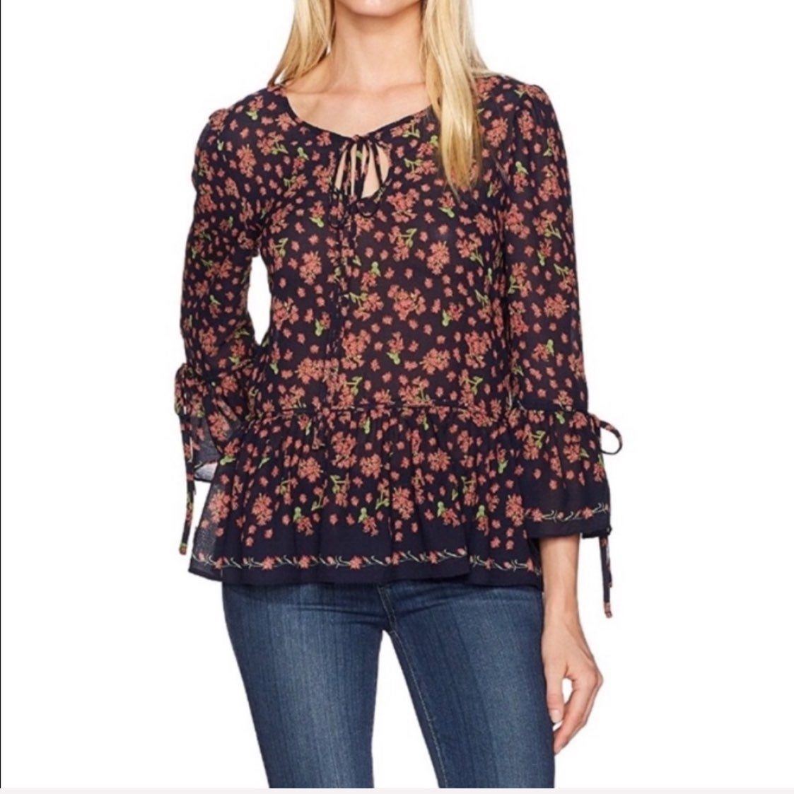 NWT Max Studio Floral Bell Sleeve Blouse