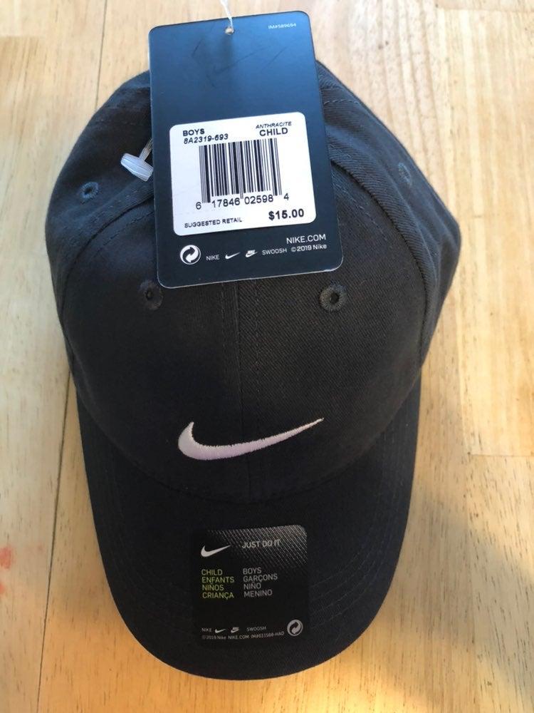 2 Nike Gray Baseball Hats Child Size New
