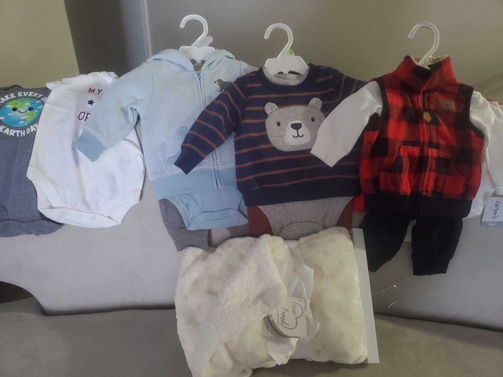 Baby boy bundle outfit sets plush blanke