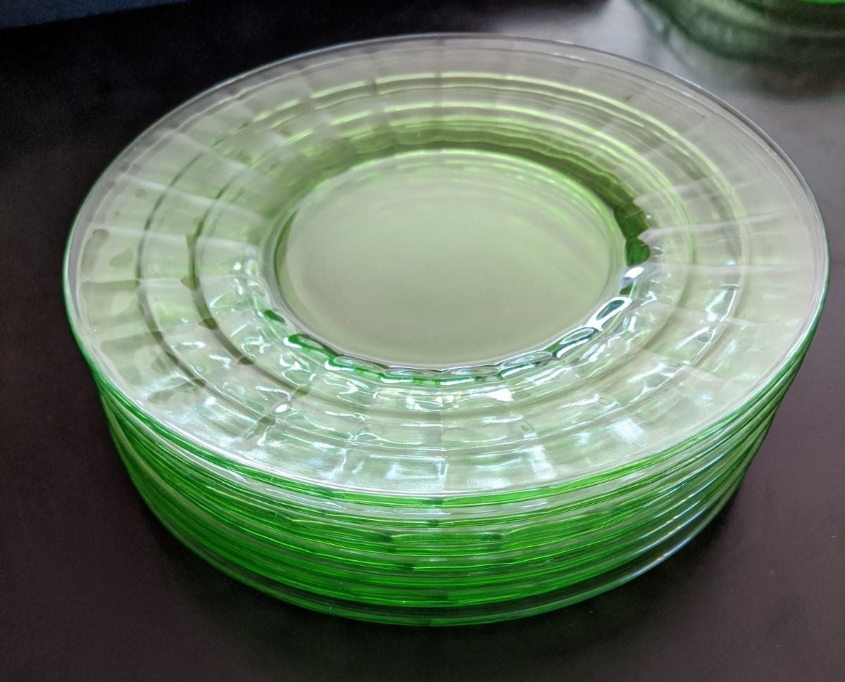 Anchor Hocking Green Optic Salad Plates