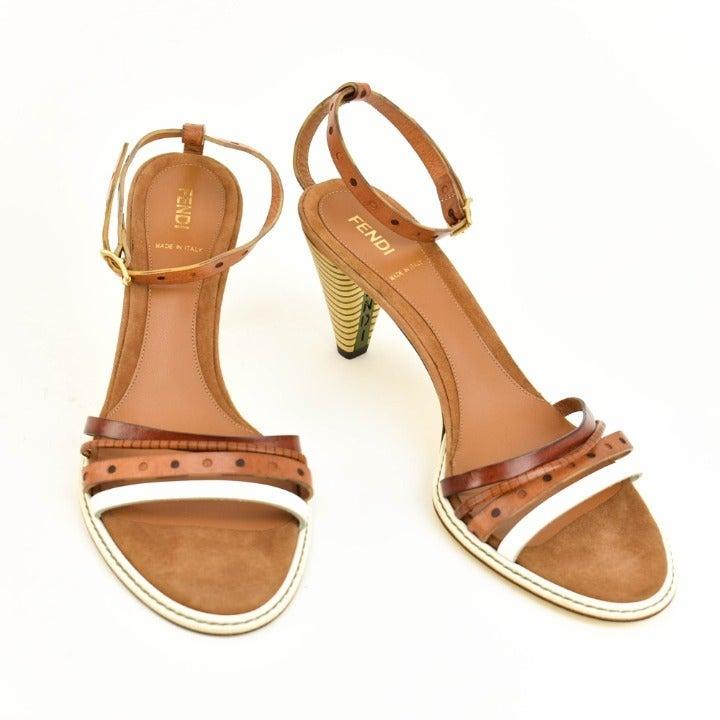 FENDI: Brown, Leather & Logo Sandals