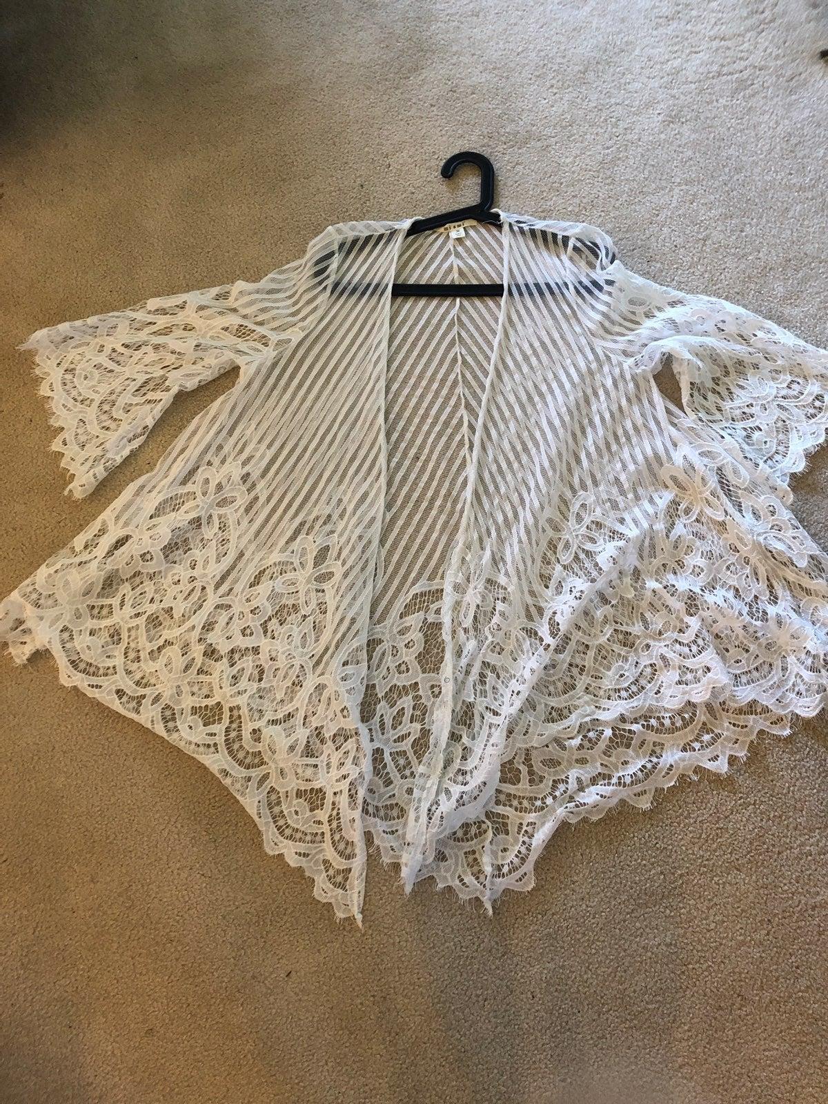 White Francesca's Lace Kimono