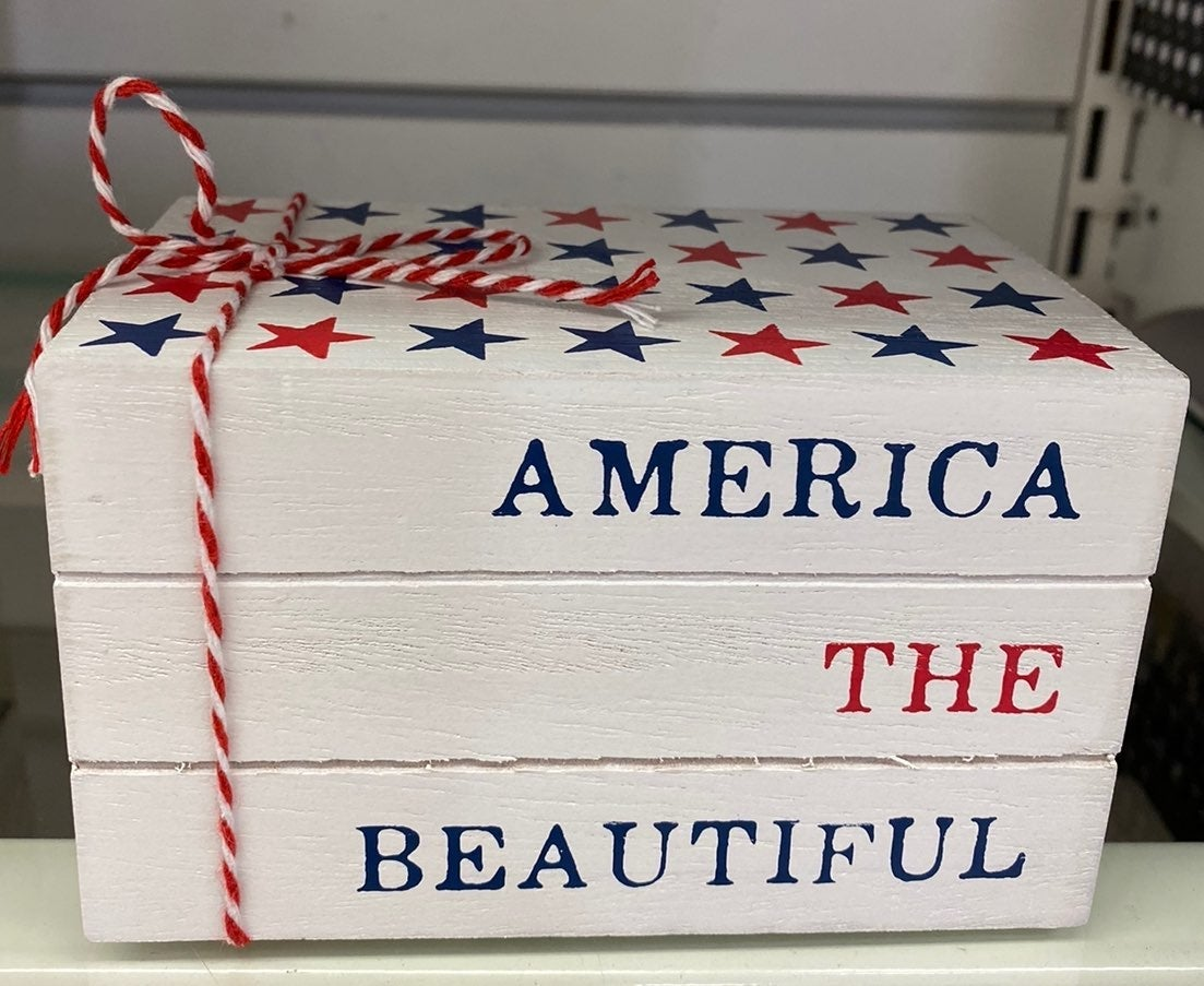 America the Beautiful wooden bookstack