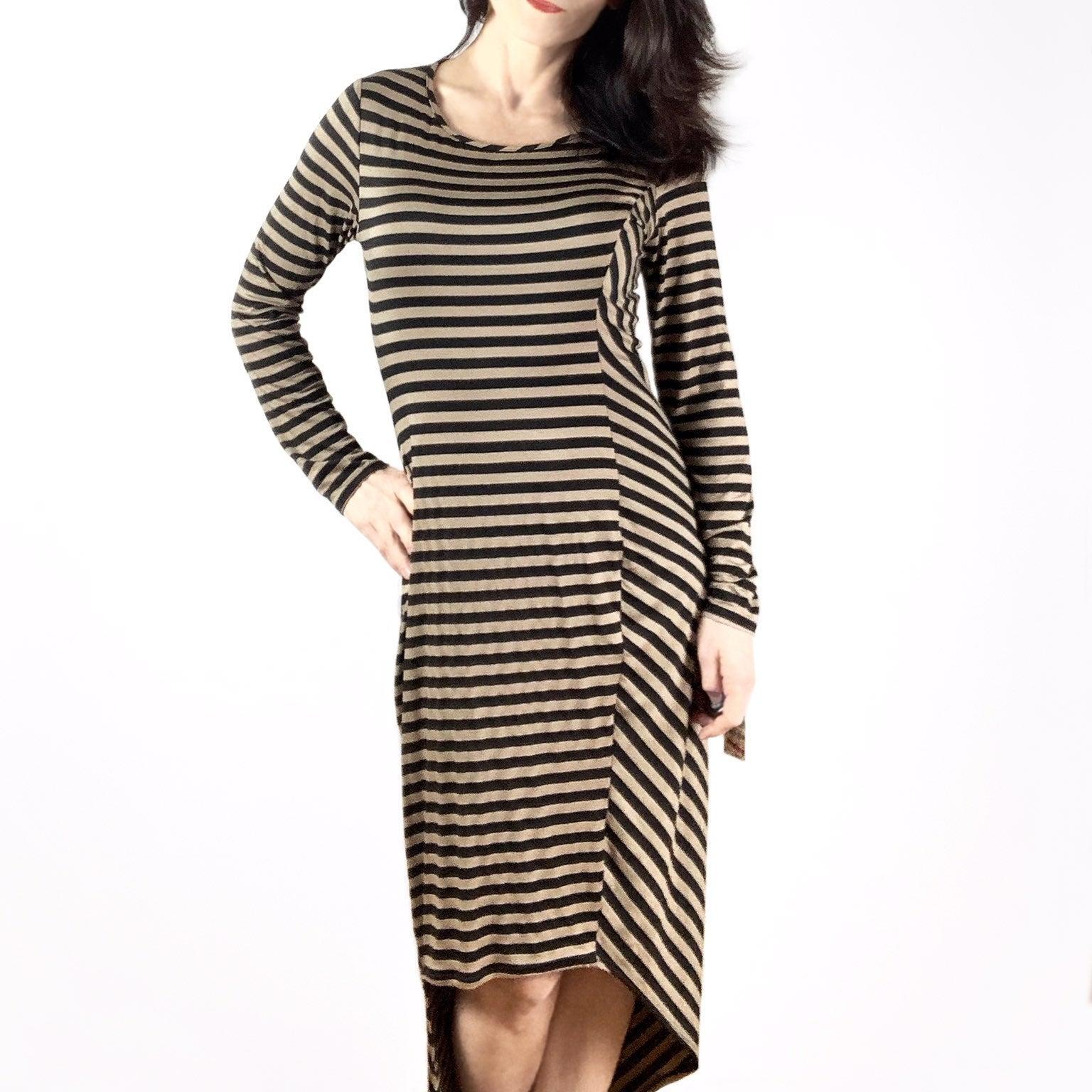 NWT BAR III Striped asymmetrical dress