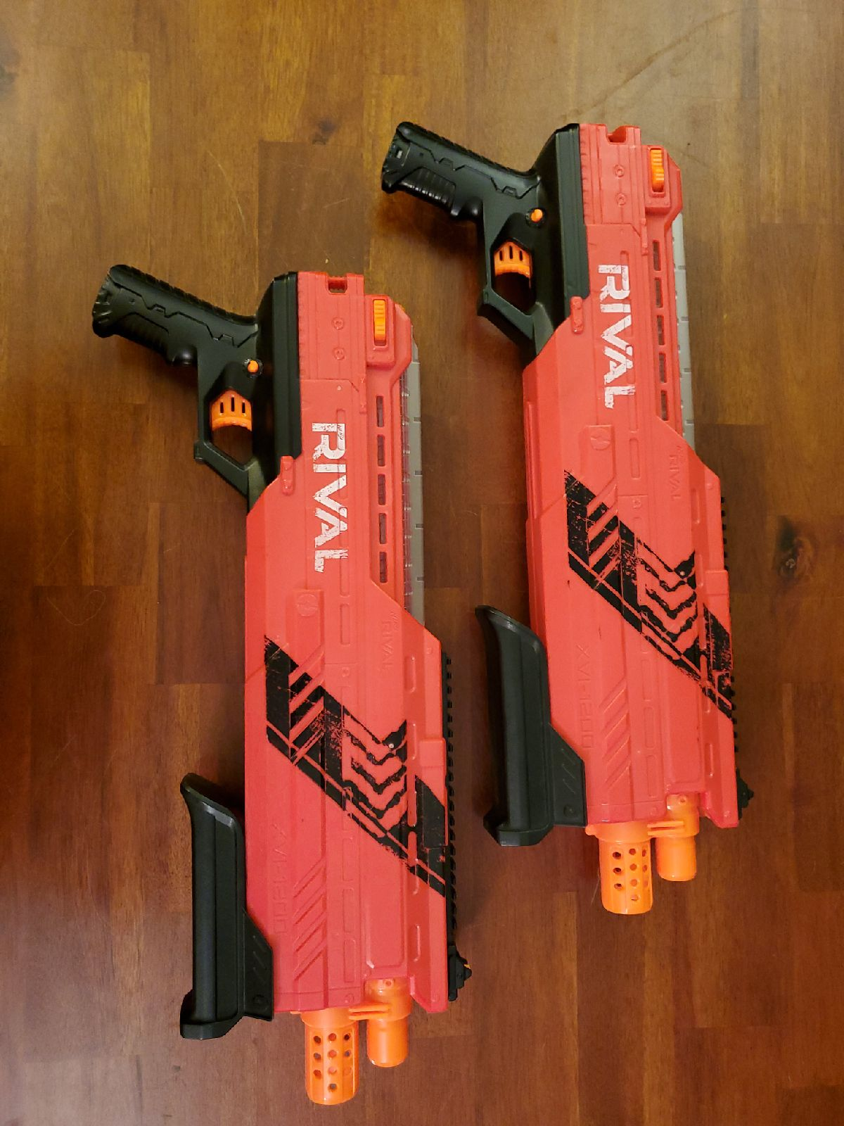 Pair of Nerf Rival red XVI-1200 blasters