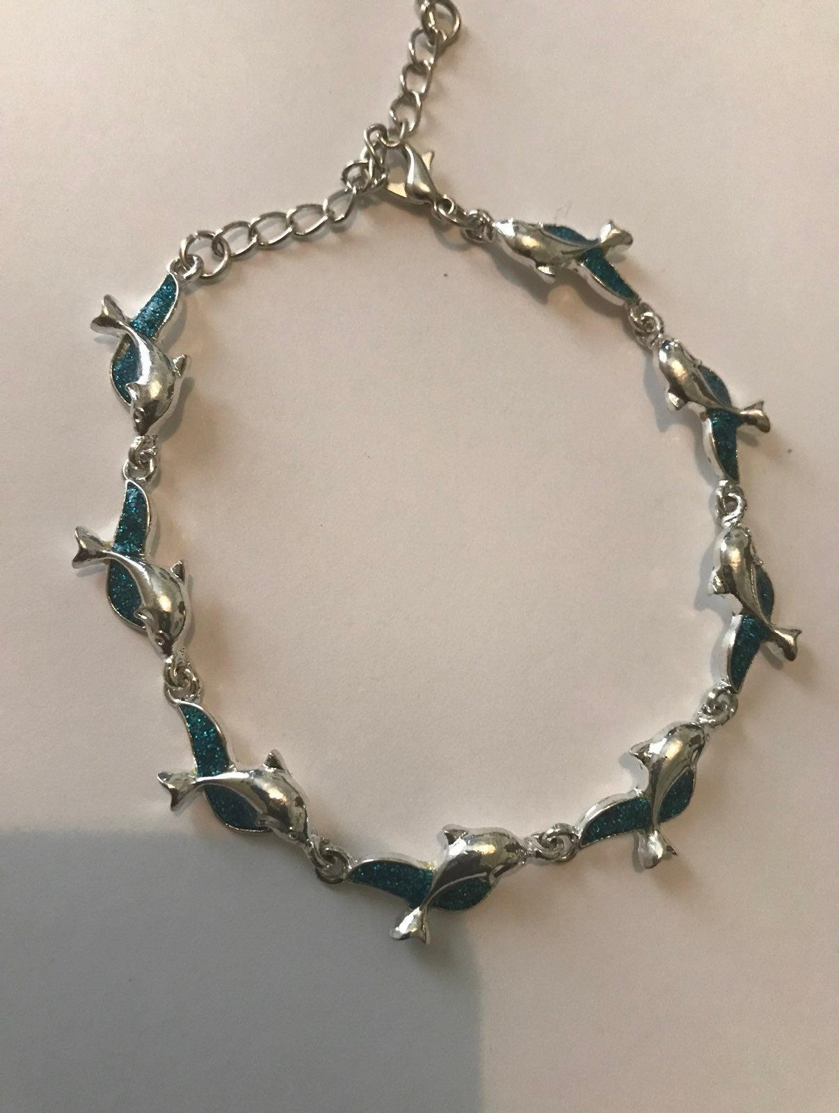 Fire opal dolphin bracelet