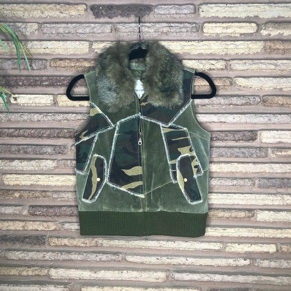 Wilsons Leather Vintage Suede Camo Vest