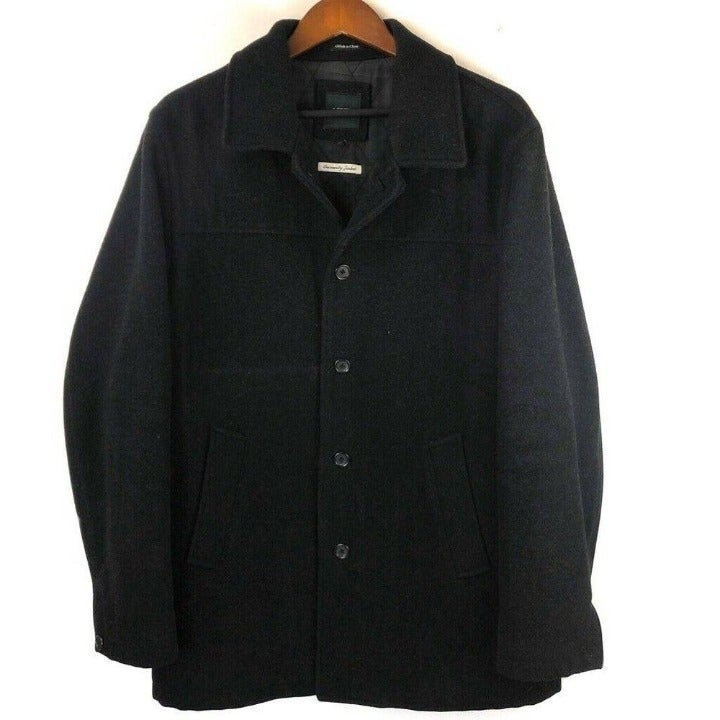 J.CREW Mens Pea Coat Black Wool Jacket