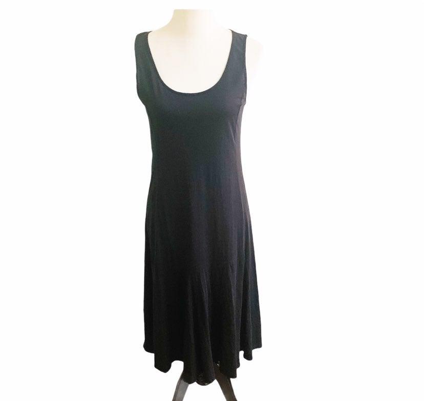 Garnet Hill Sleeveless Midi Dress Black