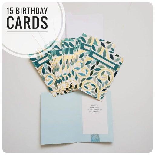 15 happy birthday cards bundle set