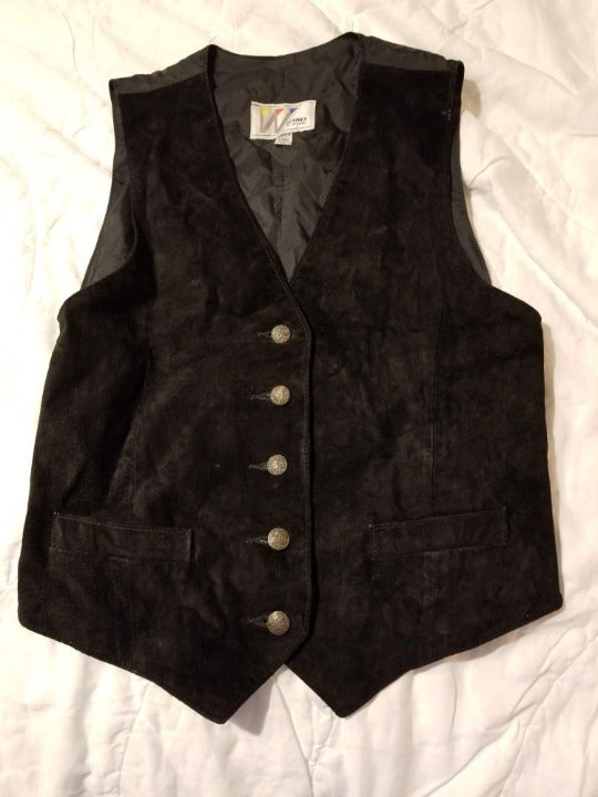 Wilsons Leather Suede Vest Black Sz XS