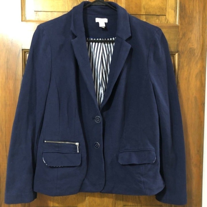 Chico's Navy Cotton Blazer