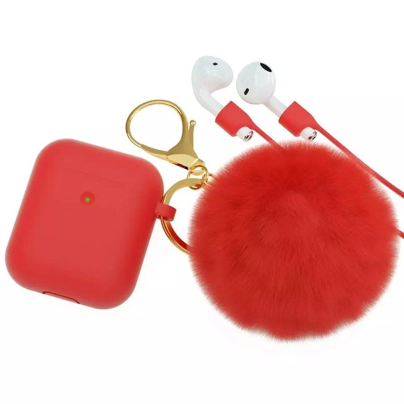 Red AirPods Case w/ Bling & Pompom Charm