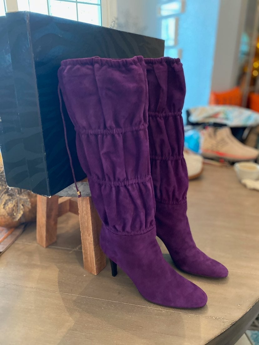 ROBERTO CAVALLI Suede Slouch Boots in Pu