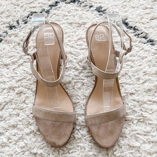 BP Nude Suede Leather Block Heel Sandal