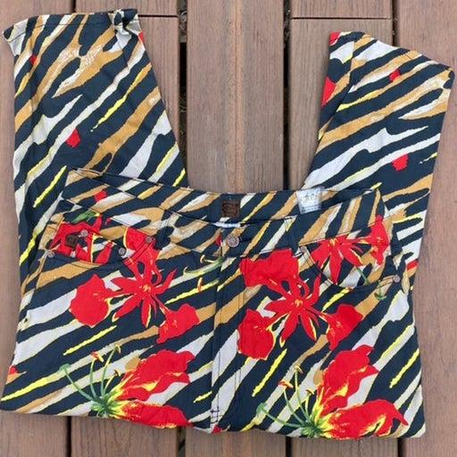 CREST Denim Crop Jeans  Floral Tiger