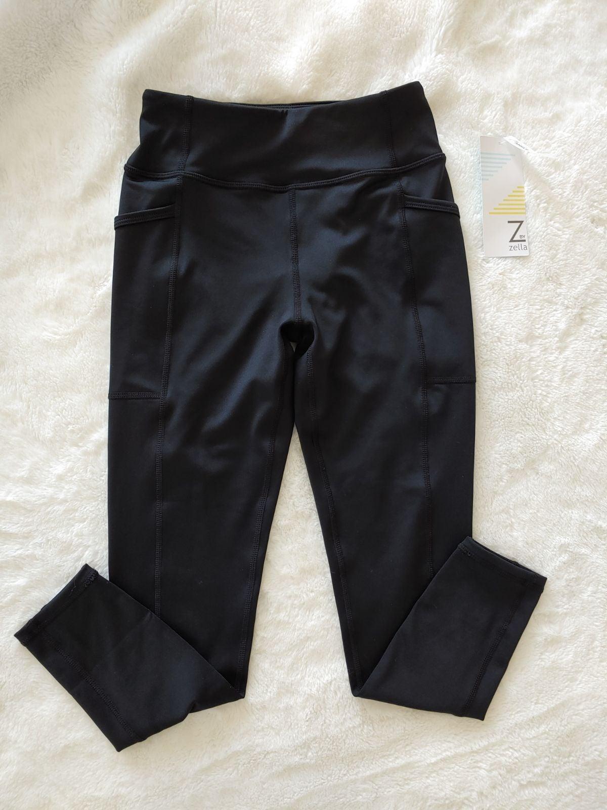 Girls black zella leggings w pockets siz