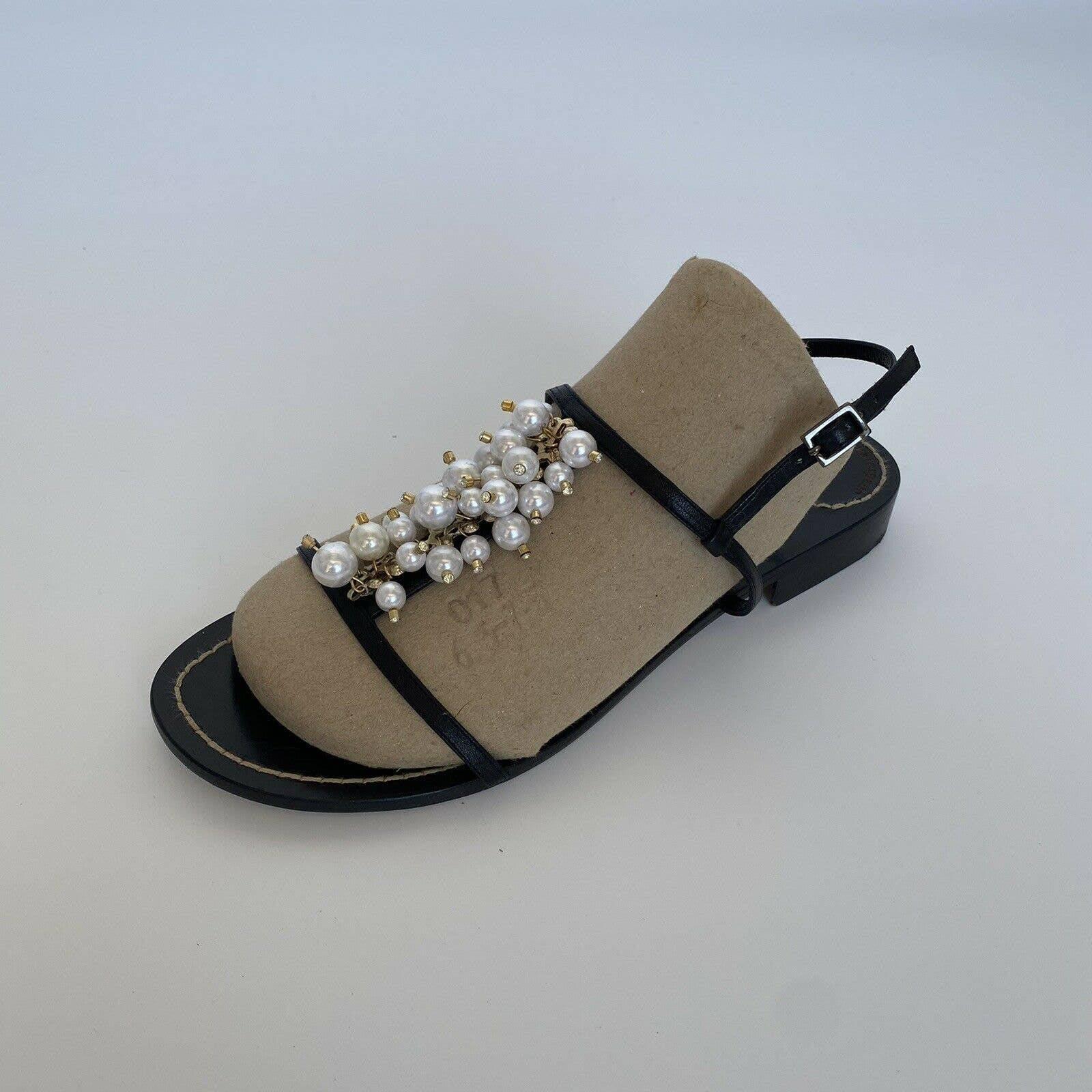 Kate Spade Black T Strap Sandals Beaded