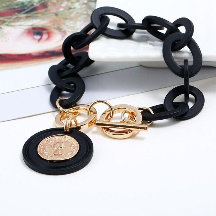 Charm Bracelet, Black , Gold Accents