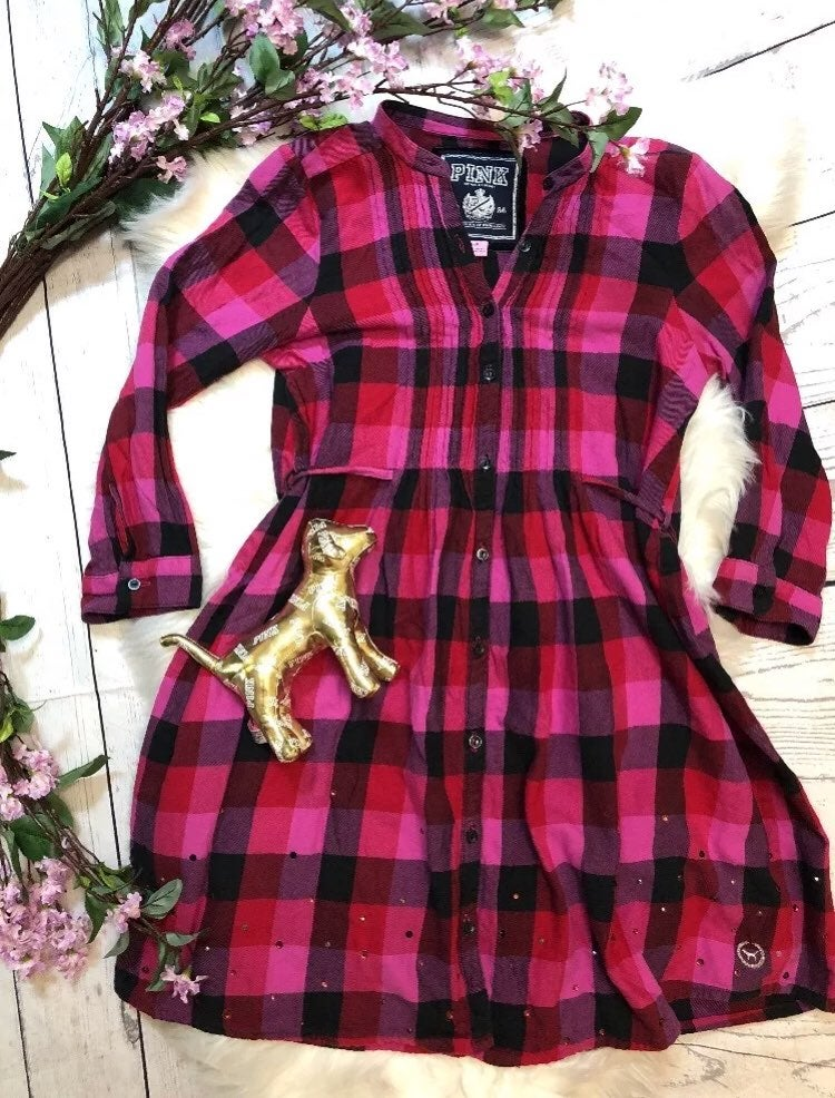 Vs Pink Plaid Tunic Flannel Bling